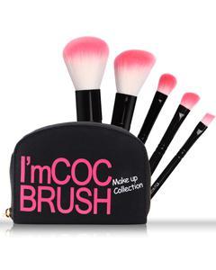 Coringco_COC 帆布攜帶型刷具包5入組-黑款(附鏡子)
